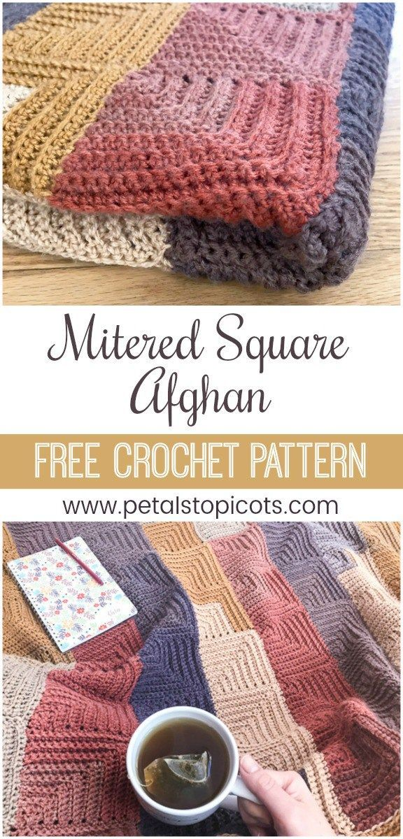 Continuous Mitered Square Crochet Afghan Pattern Diys Pinterest