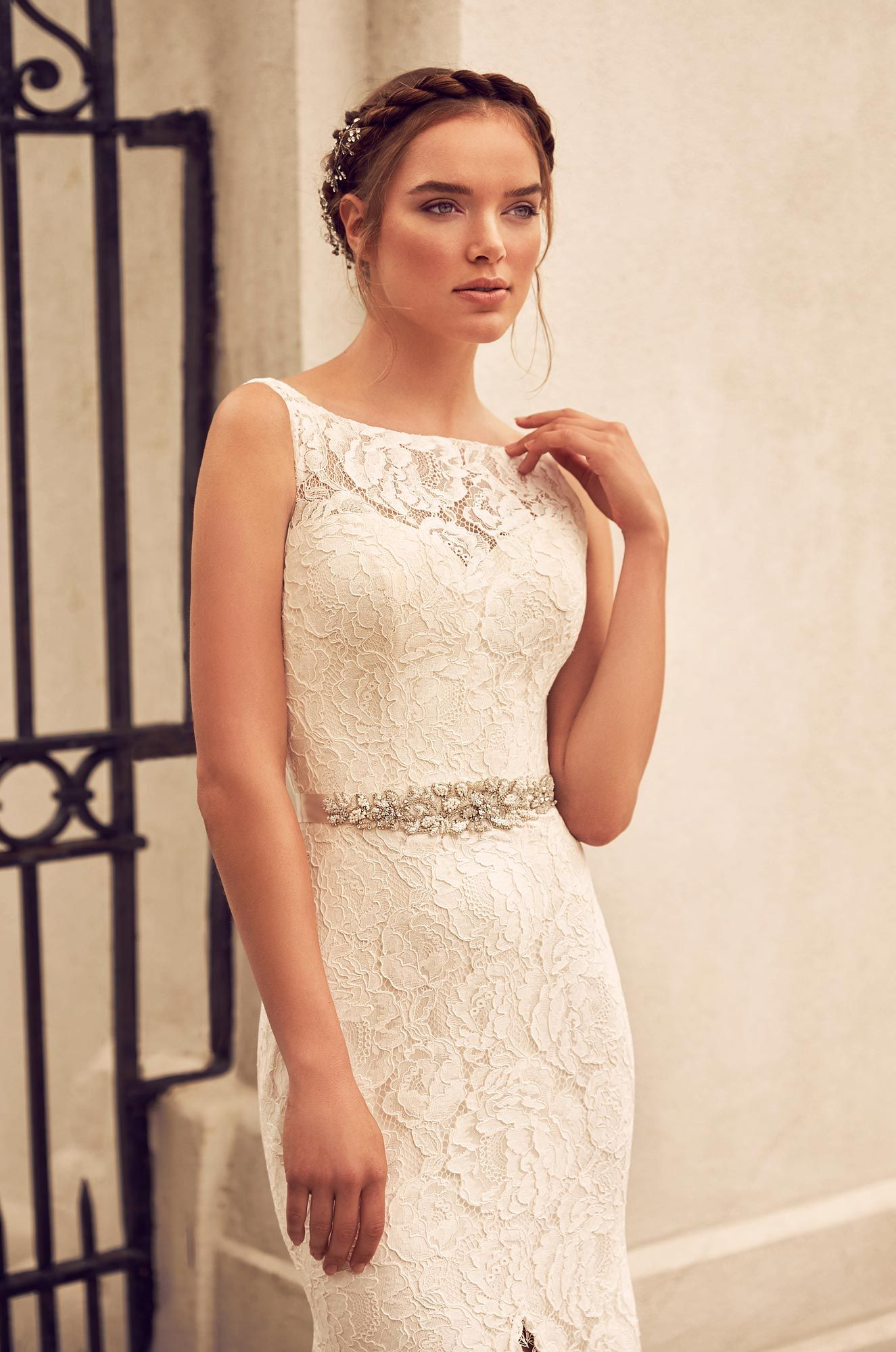 Split front lace wedding dress style lace bodice paloma