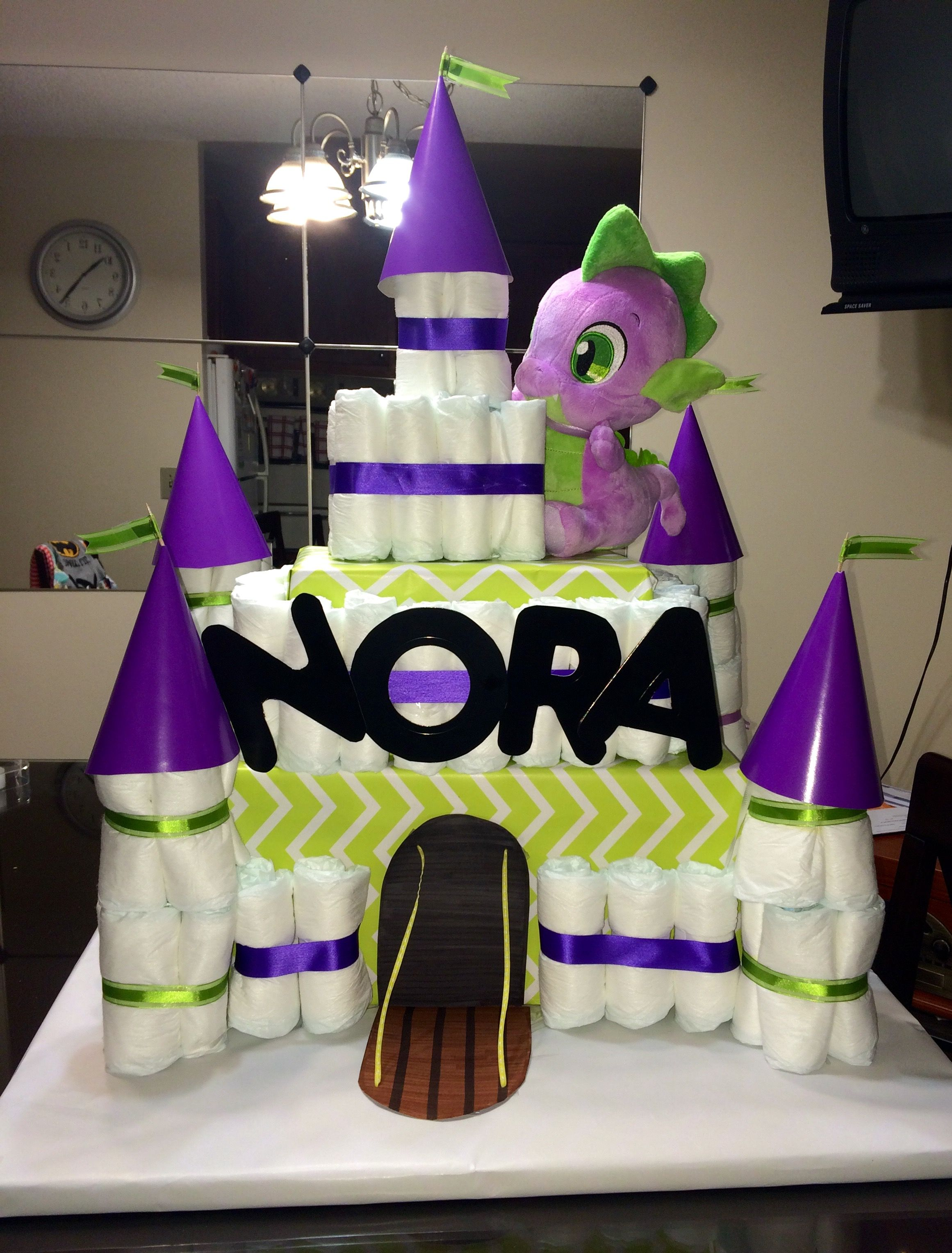 purple and green dragon castle diaper cake for baby shower | stuff