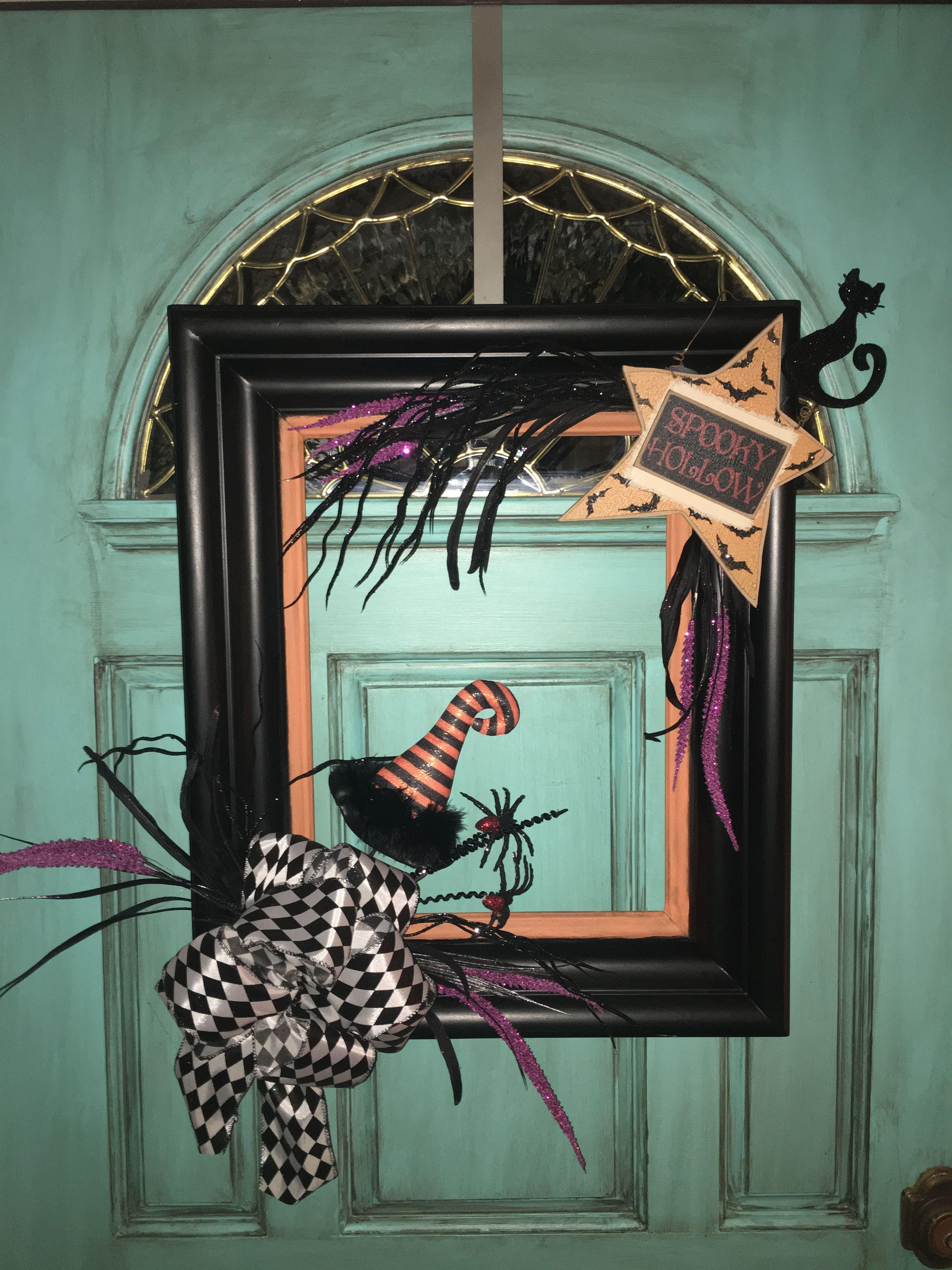 SALE Round Happy Halloween Door Hanger Sign by