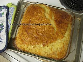 Quiche/Egg Cake  6 beaten eggs  1/2 tsp salt  1 cup Bisquick  3 cups milk  1/4 tsp mustard  2 cups grated swiss cheese  1/2 tsp minced onion OR fresh green onion  1 small can Deviled Ham OR bacon  Mix together, Bake 350* 45-50 minutes. Let it rest for 20 minutes before serving