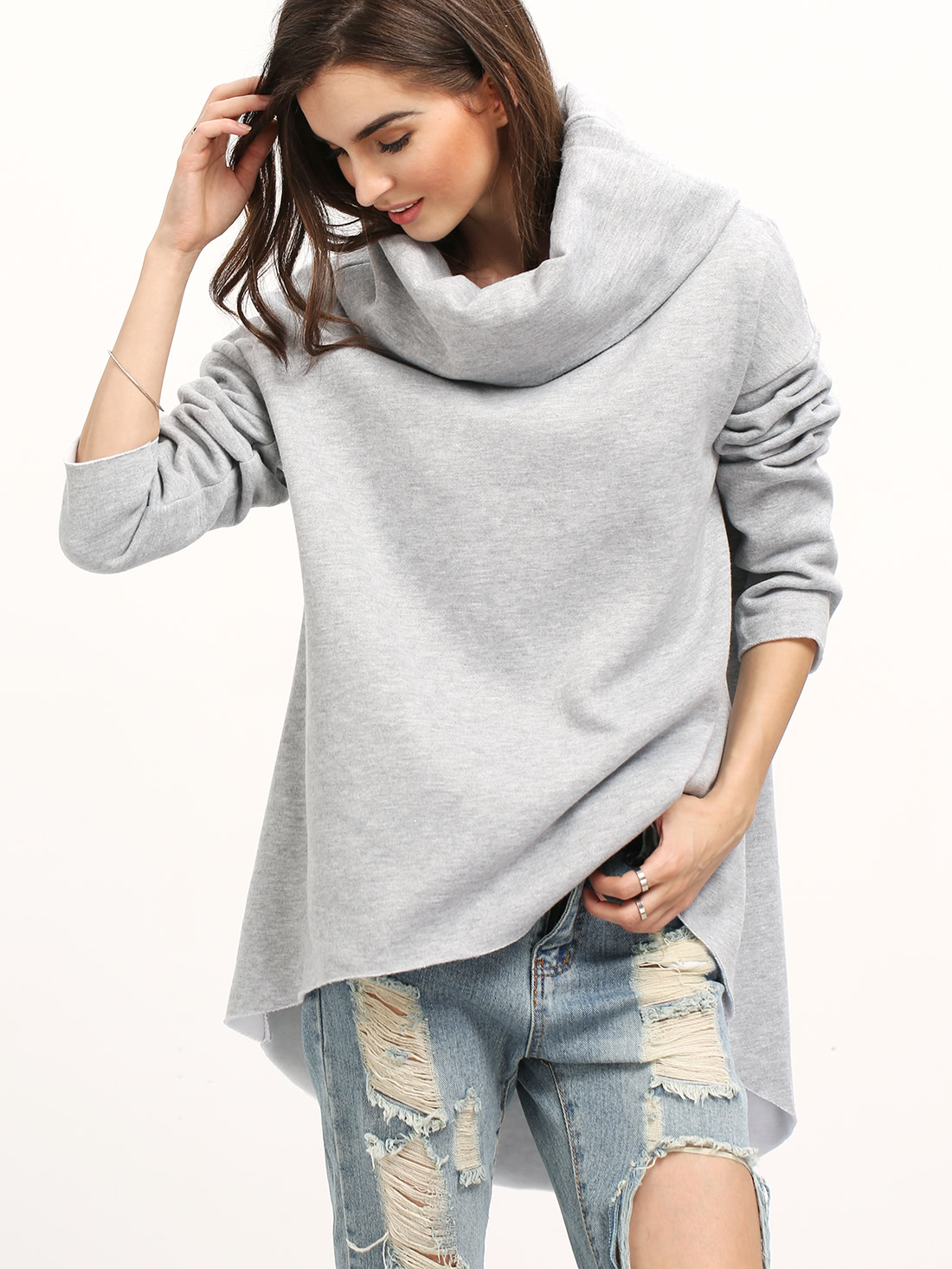 Cowl Neck Dip Hem Loose Sweatshirt | Cowls, Cowl neck and ...