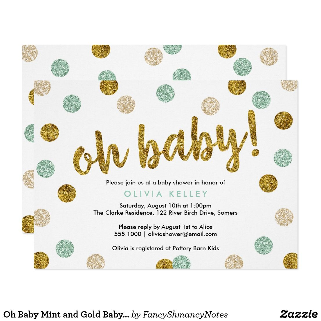 Oh Baby Mint and Gold Baby Shower Invitation | Text layout and Gold ...