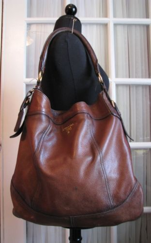 9f56e00711d7 Authentic PRADA Deerskin ANTIK Cervo Brown Leather Hobo Bag