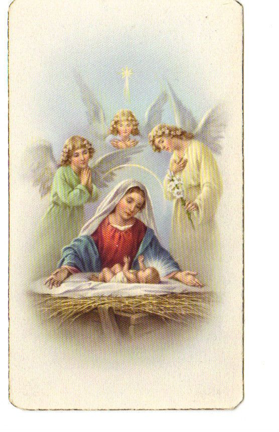 Vintage Mary baby Jesus Angels Trio Manger Holy Prayer Card