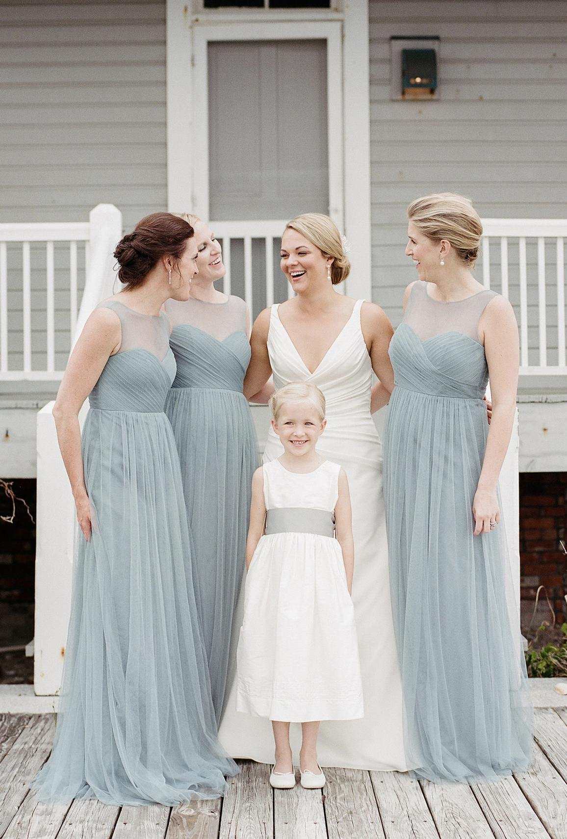 732cd0f0ca Jenny Yoo Bridesmaids, The Aria dress shown in a light shade of blue,  features a sheer illusion bateau neckline. A seam sits at the natural waist  creating a ...