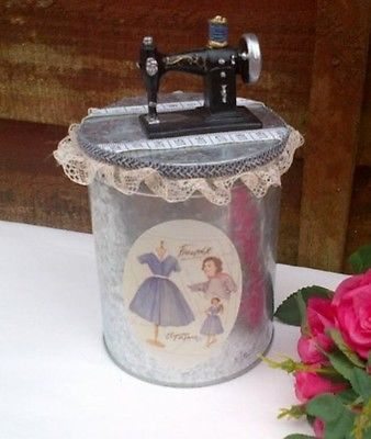 Vintage Style Tin Metal Sewing Trinket Box with Lace Trim and Retro Image