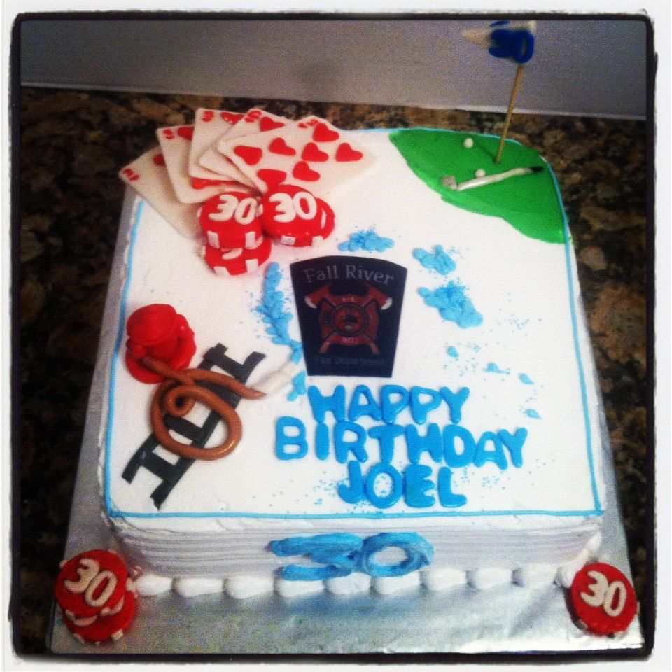 30th Birthday Cake Poker Theme Golf Theme Manly Cake Oh For