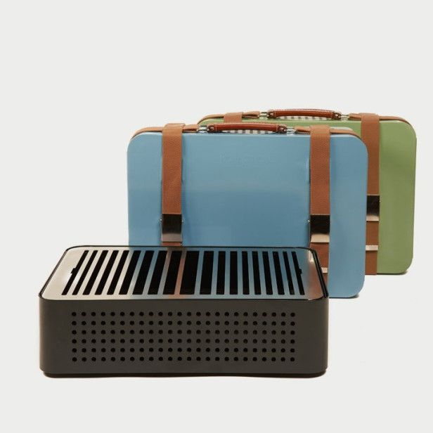 Mon Oncle  Charcoal Grill - is a reinterpretation of the classic barbecue. When closed, it's an elegant briefcase with character and a vintage feel. When opened, it's a portable tabletop barbecue. It can be used at home, on the terrace or balcony, at a picnic or tail-gating. Coconut shell briquets are provided and is suggested for future use as there's little flame, retains heat and generates very little smoke