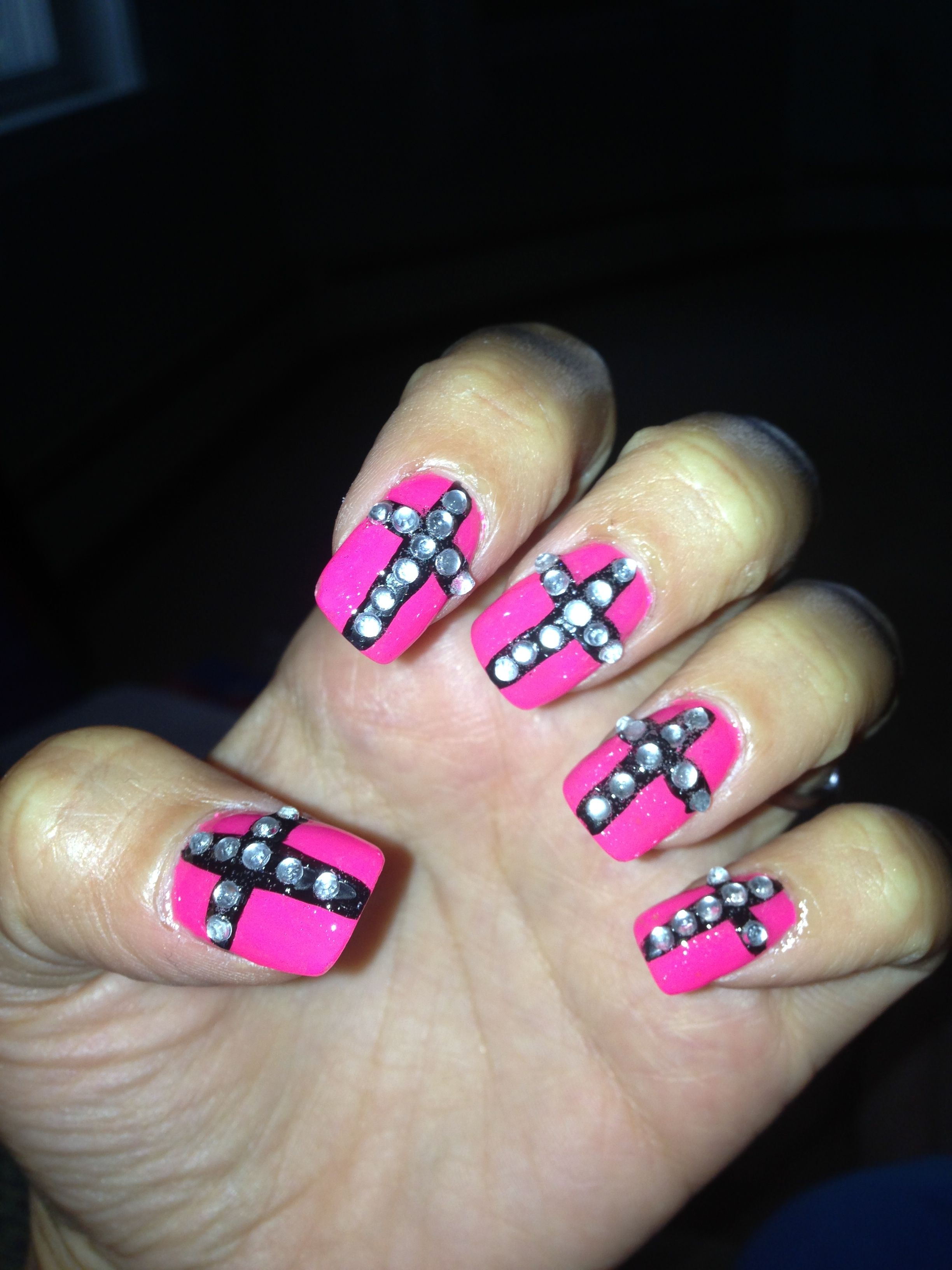 Pink And Black Cross Rhinestone Nail Art