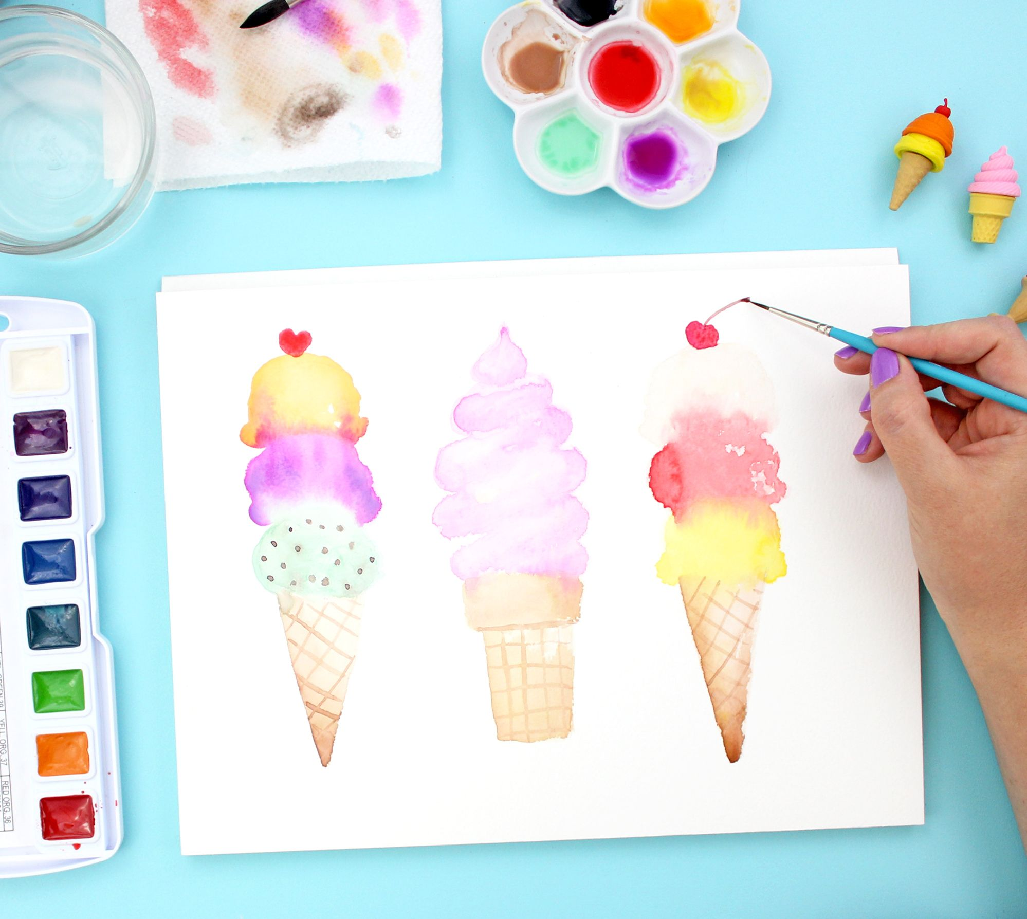 How To Paint Watercolor Ice Cream Cones With Images Beginning