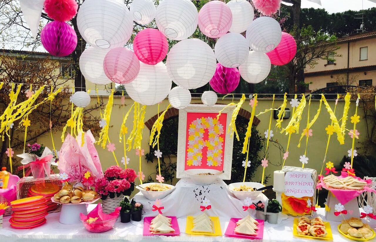 Tavolo Compleanno Bambina : Tavolo compleanno bambina fucsia giallo e bianco allestimento in