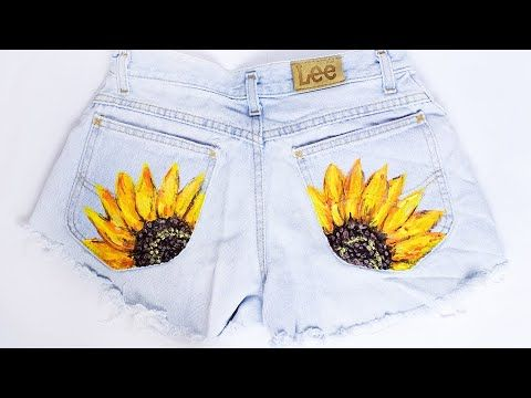 DIY Painted Sunflower Shorts (Thrifted)
