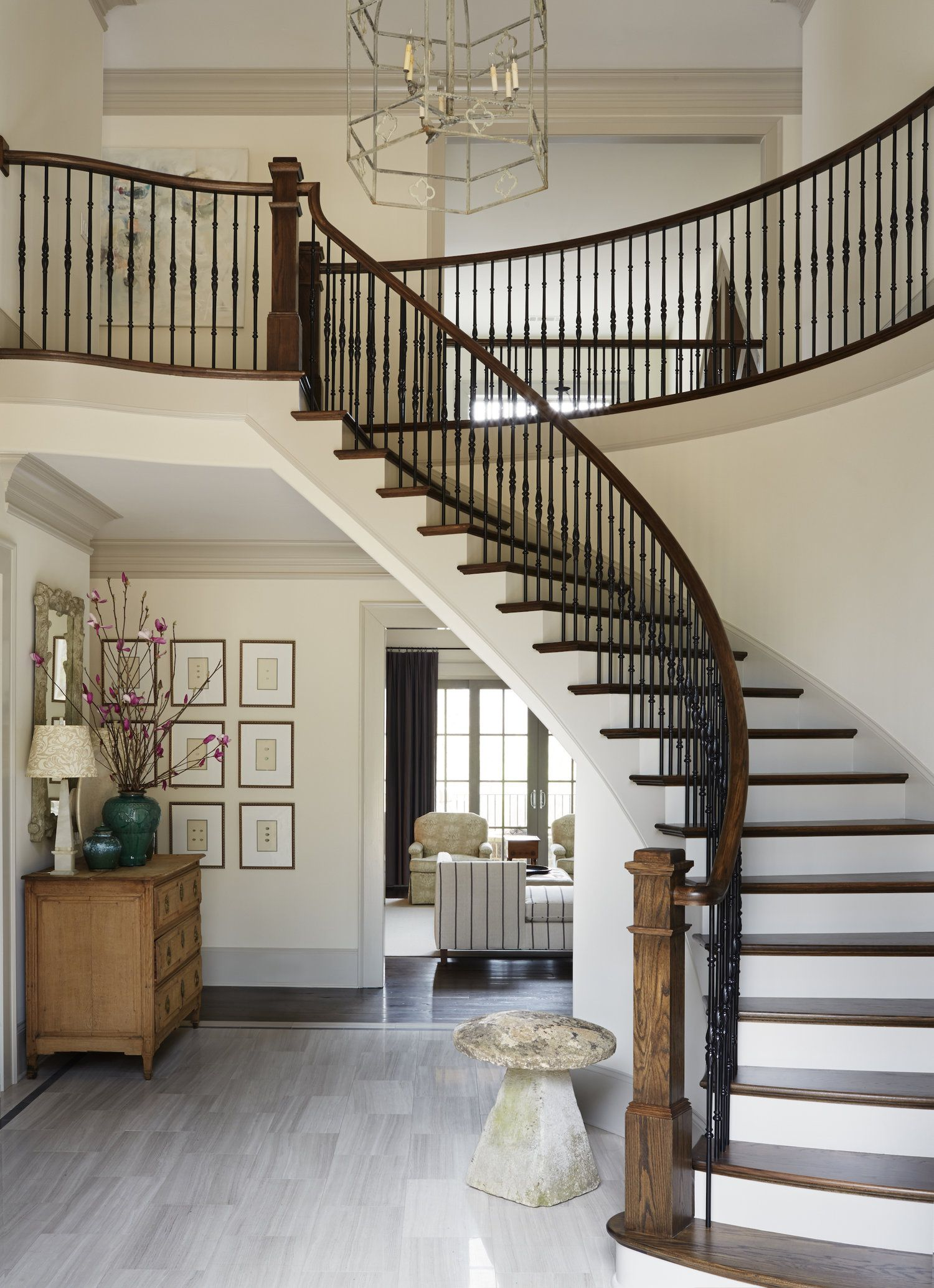 Best Grand Curved Stairway Design In Entryway Amy Meier 400 x 300