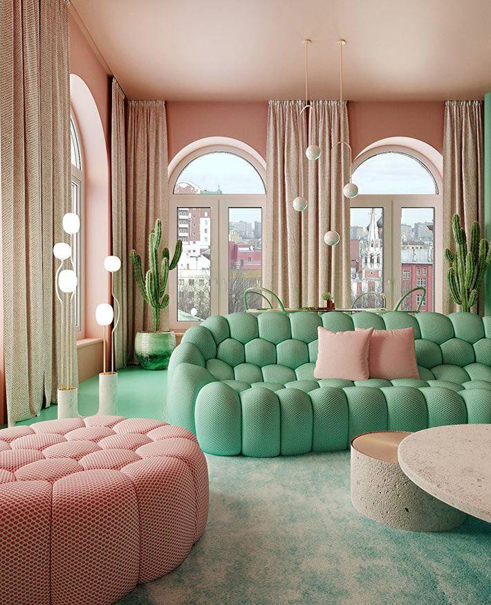 Зелёный и розовый цвета в интерьере квартиры | Фото ...