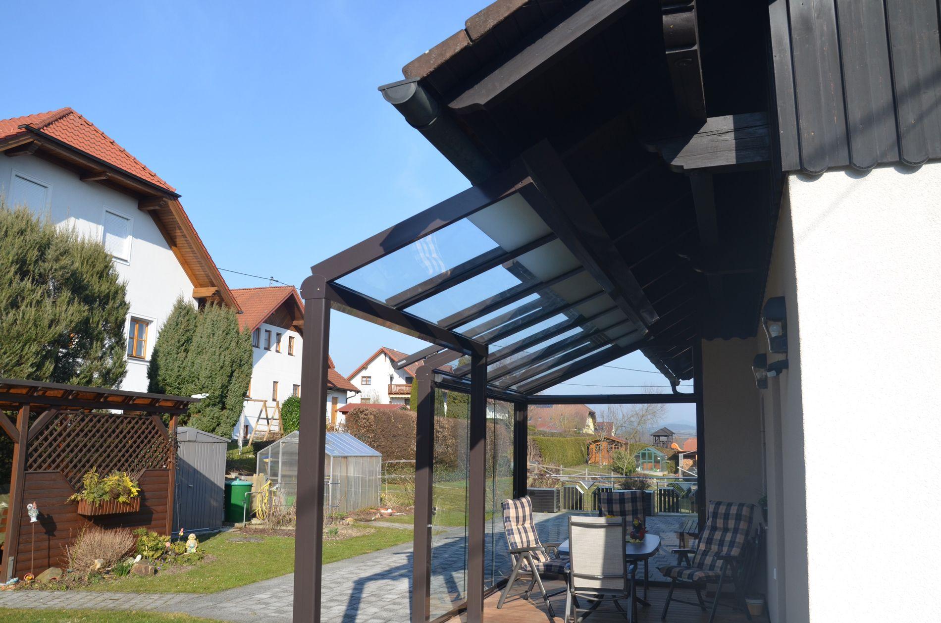 Terrassendach Mit Schiebetur Verglasungen Balkon Terrasse