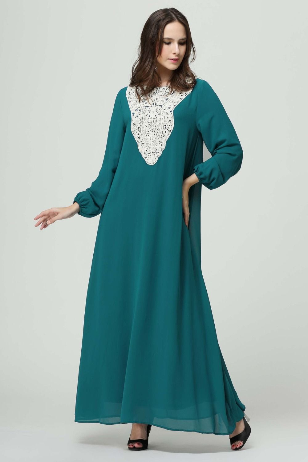 Women chiffon maxi dress kaftan jilbab islamic abaya muslim long