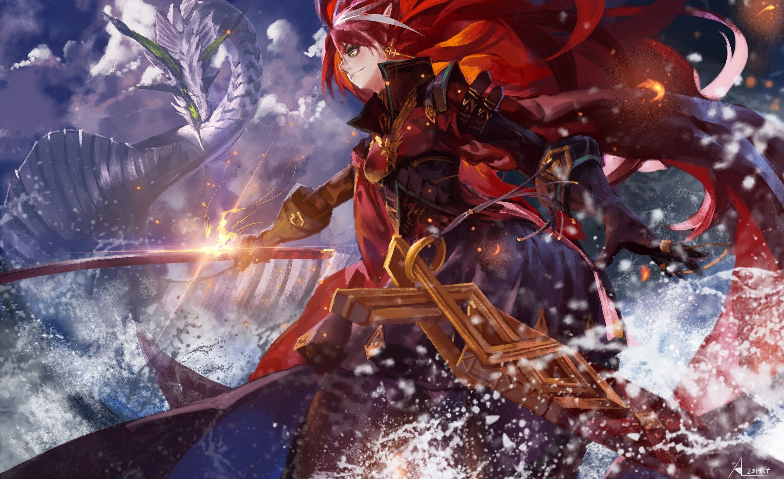 #dragons, #swords, #katana, #Pixiv Fantasia   Wallpaper No ...