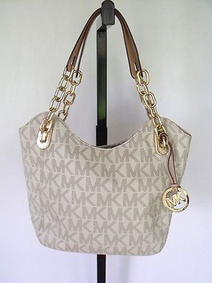 20e102601608 Michael Kors Ivory Leather Chain Lilly MK Monogram Satchel Purse Bag  Handbag