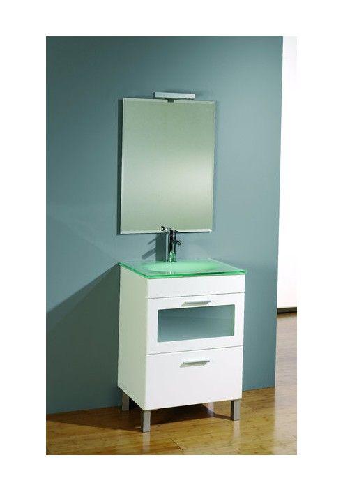 Conjunto de mueble de baño Emerald 60 cm. en blanco con dos cajones ...
