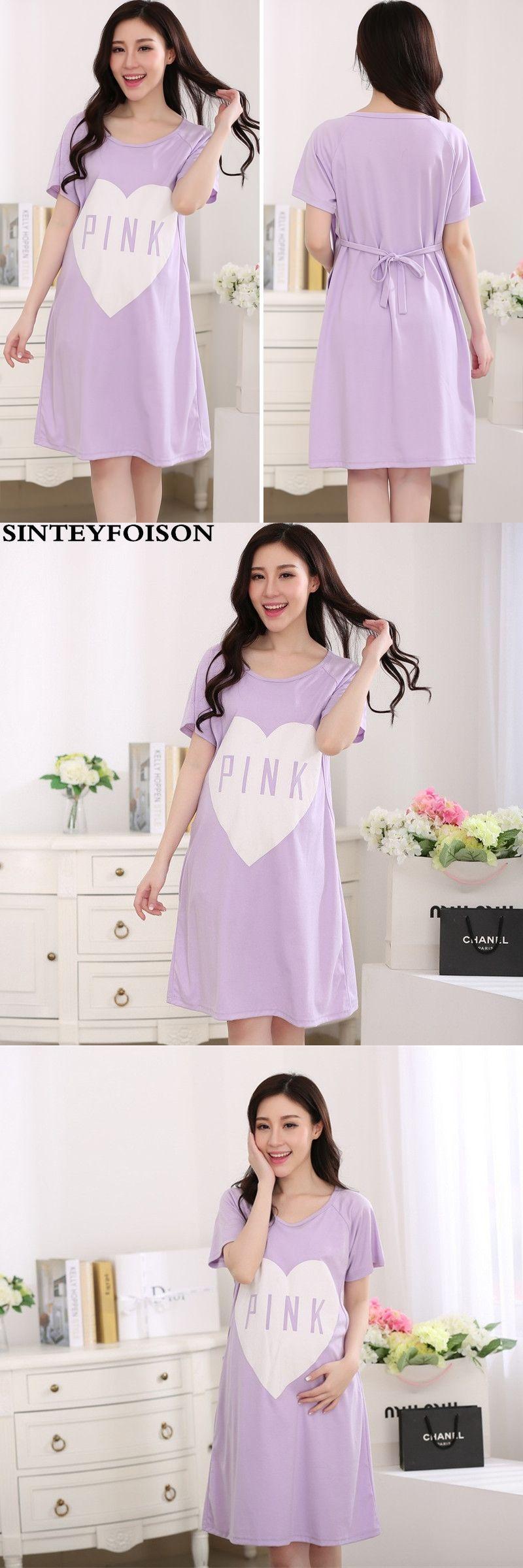 ac9ed1f18c SpringSummer Expectant Mother Feeding Dress Letter PINK Pregnant Women  Pajamas with Short Sleeves Thin Cotton Nursing