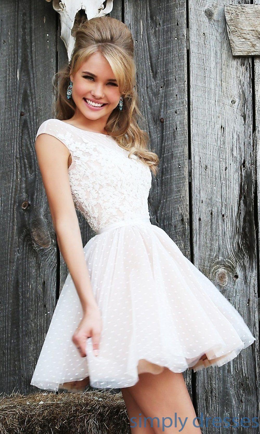 Dress short sleeveless embroidered dress by sherri hill for Sherri hill short wedding dress