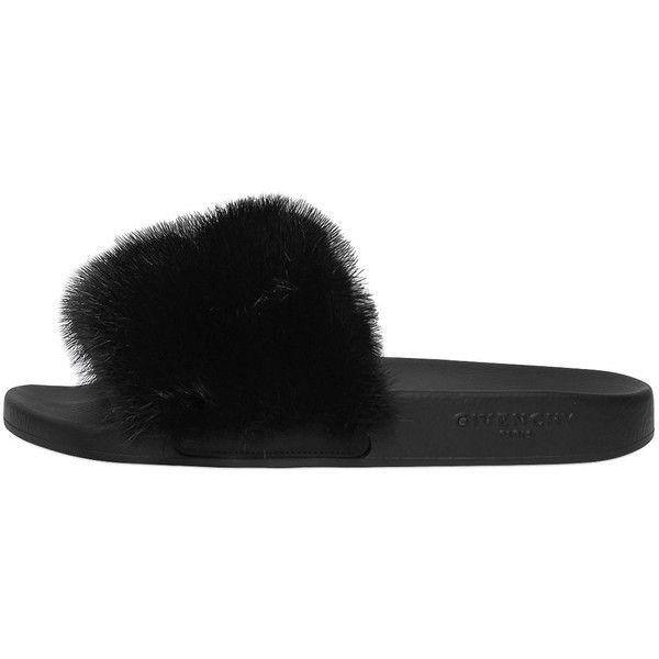 e7e7f7bdfa29 Givenchy Women Mink Fur Rubber Slide Sandals (£610) ❤ liked on Polyvore  featuring