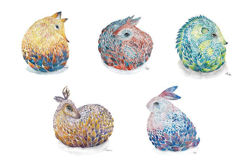작가 Norvile Dovidonyte 의 수채화 일러스트 작업들입니다. 동물들을 동그랗게 말아놓은게 큰 특징인데요. 그래서 그런지 눈이나 붓터치를 보면 귀여운 느낌이 아닌데.. 귀엽네요 ㅎㅎ 동물 그림이라 동물도 같이 발행하는데 불편하심 말해주세요 ㅎㅎ