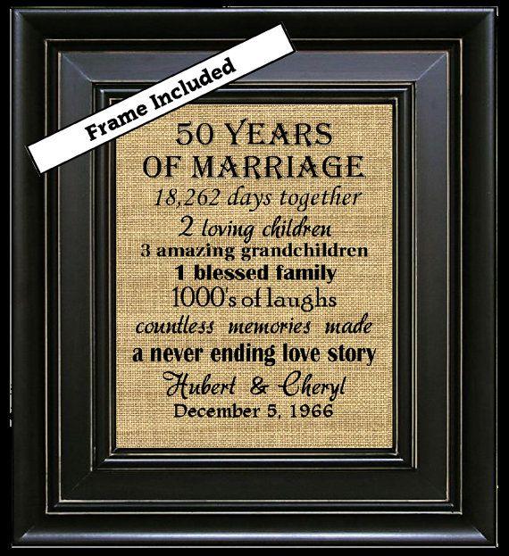 FRAMED 50 aniversario de boda / 50 aniversario regalos / 50th boda aniversario regalos / 50 años de matrimonio / oro aniversario regalo / Burlap Arte