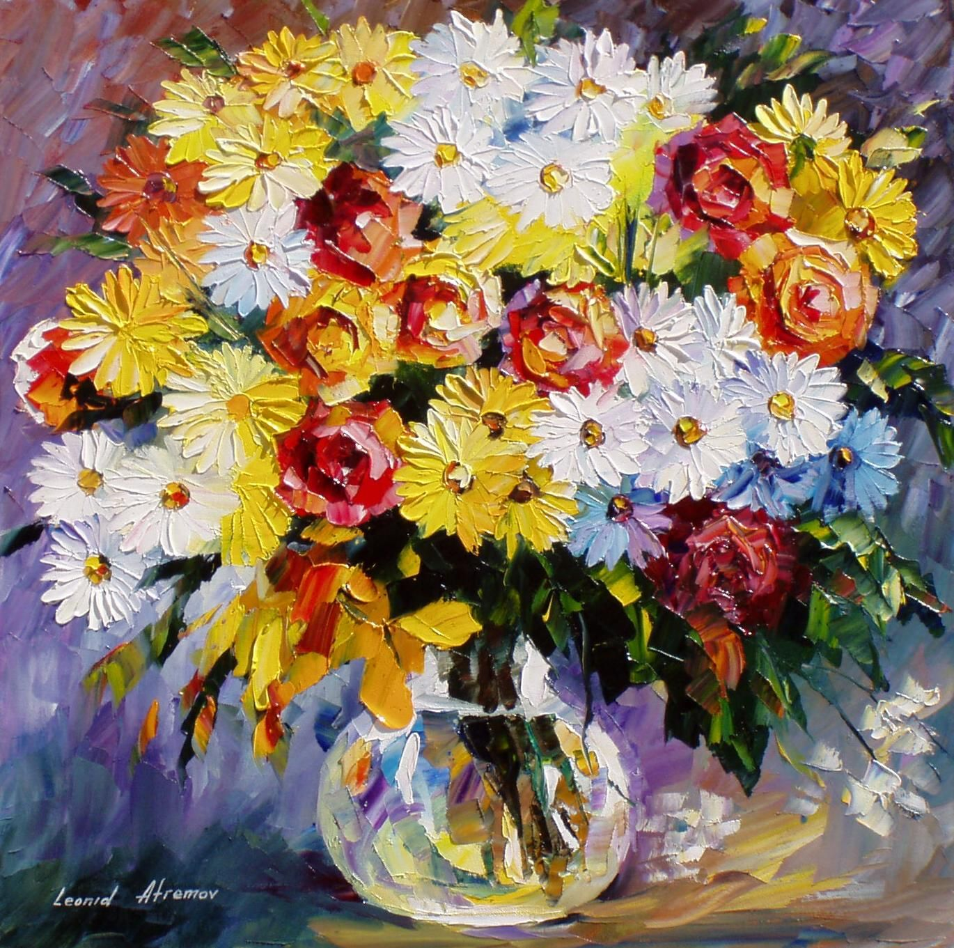 Morning-Flowers - PALETTE KNIFE Oil Painting On Canvas By Leonid Afremov - http://afremov.com/Morning-Flowers-PALETTE-KNIFE-Oil-Painting-On-Canvas-By-Leonid-Afremov-Size-24-W-x-24-H-SKU207363.html?utm_source=s-pinterest&utm_medium=/afremov_usa&utm_campaign=ADD-YOUR