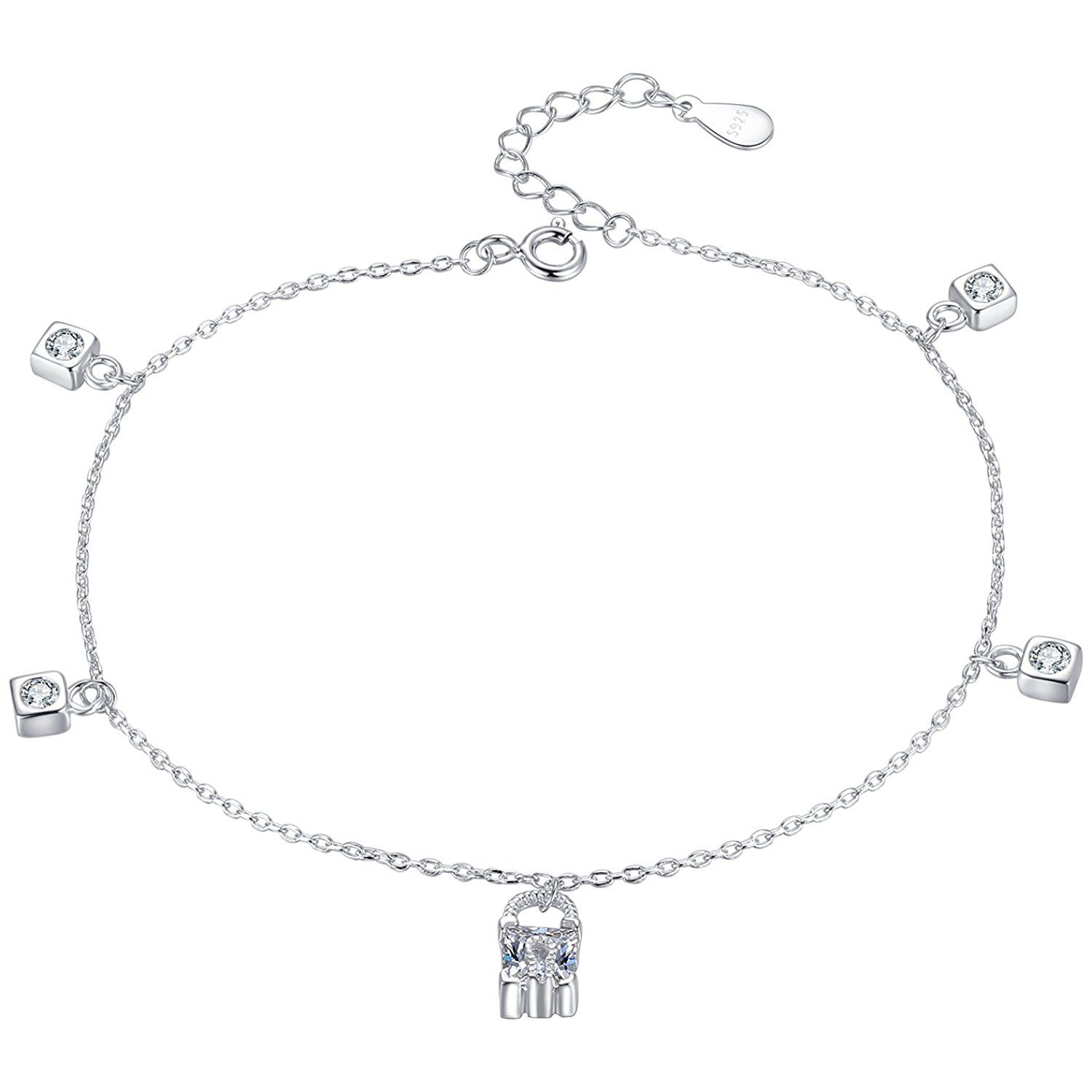 Sterling silver cubic zirconia charms anklet beach foot ankle