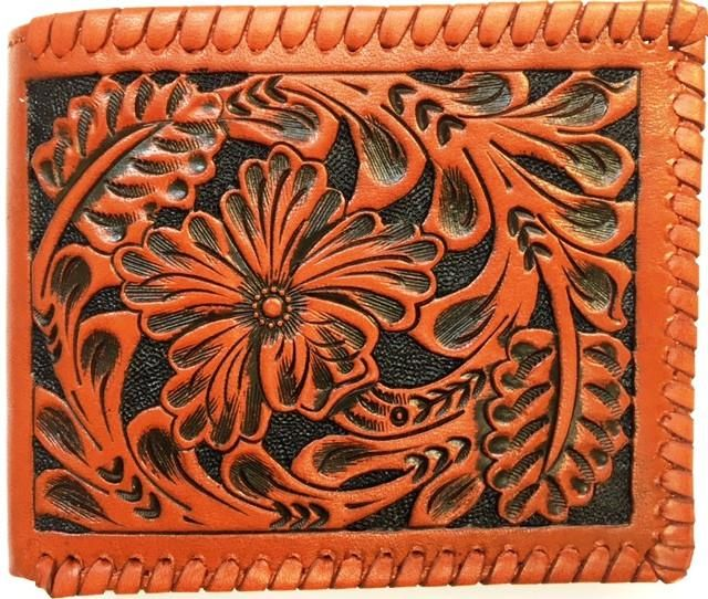 Western Bi-Fold Men/'s Wallet Genuine Tooled Brown Leather Floral ID Photo Slot