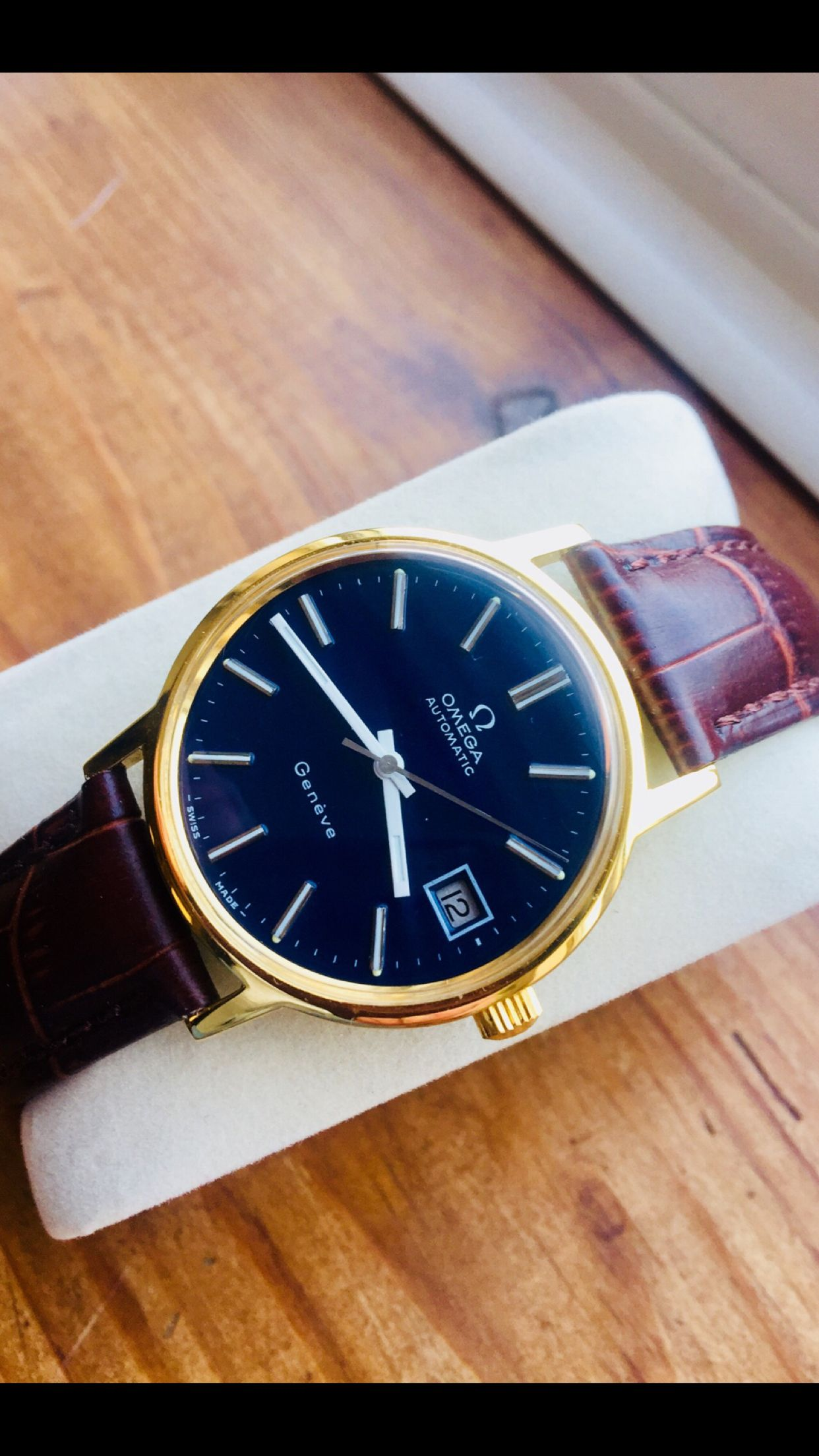 a68e051cc43 FOR SALE  Omega Geneve Blue Dial Automatic Cal 1012 Gold Plated perfect  condition