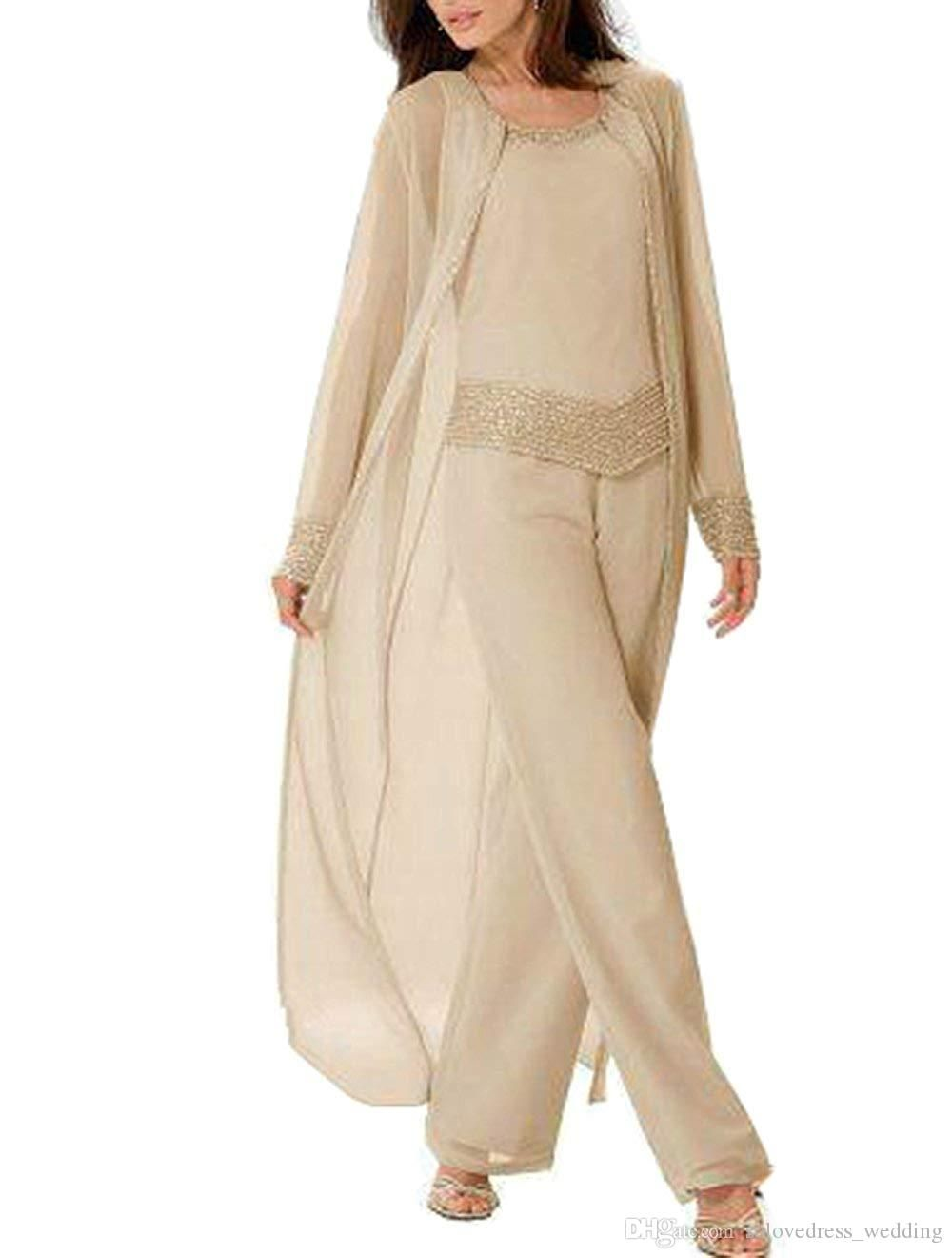 96fba60a1c4 Champagne Mother of The Bride Dresses Pants Suits Plus Size with Long  Sleeves Jacket Chiffon Mother of the Groom Dress
