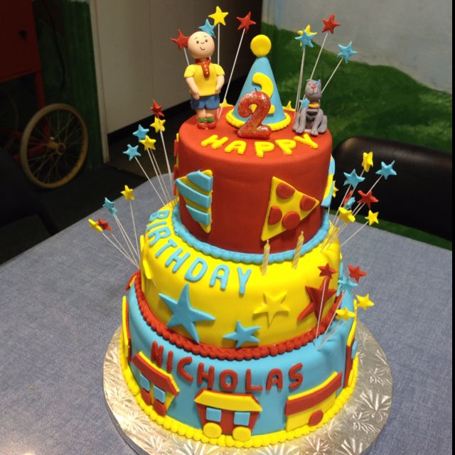 Caillou theme 2nd birthday cake red velvet with cream cheese