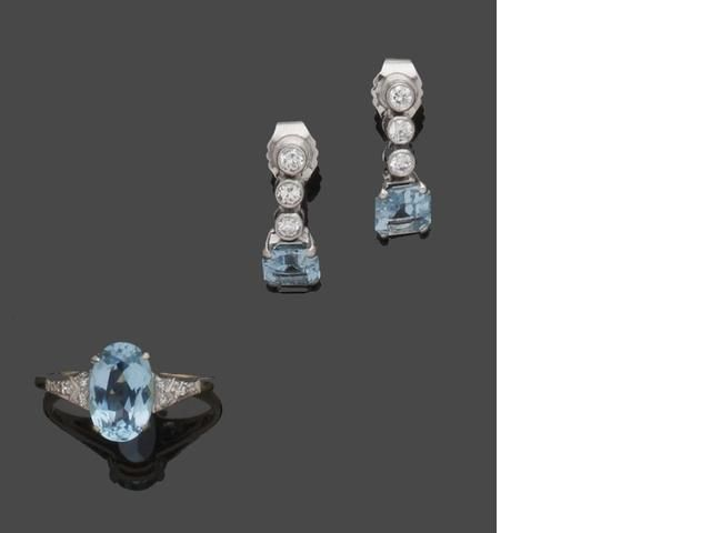An aquamarine and diamond ring and a pair of earrings (2)