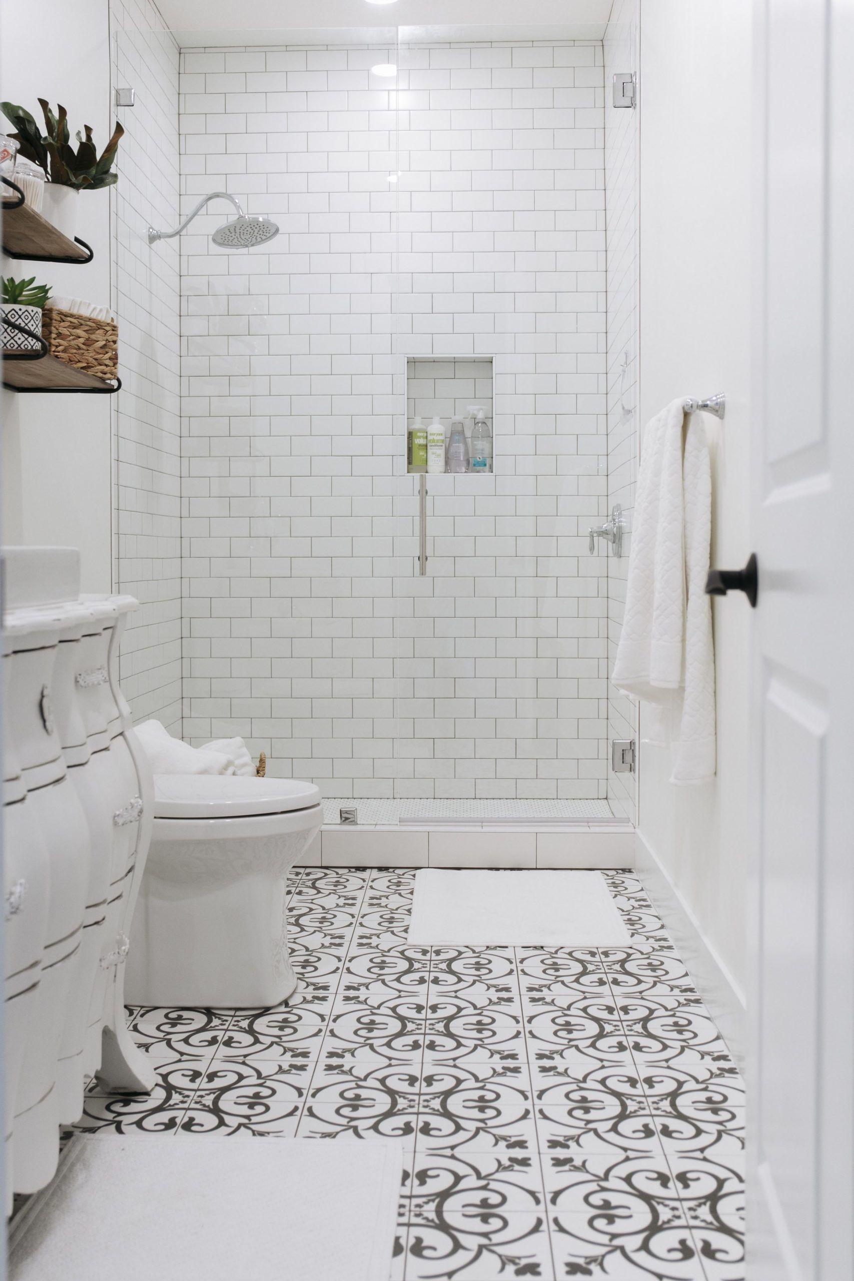 Guest Bathroom Floor Tile Ideas In 2020 Black And White Tiles Bathroom White Bathroom Tiles Tile Bathroom