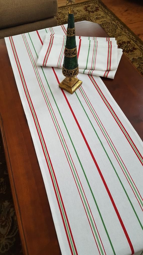 White with Red and Green Stripes Farmhouse Table Runner