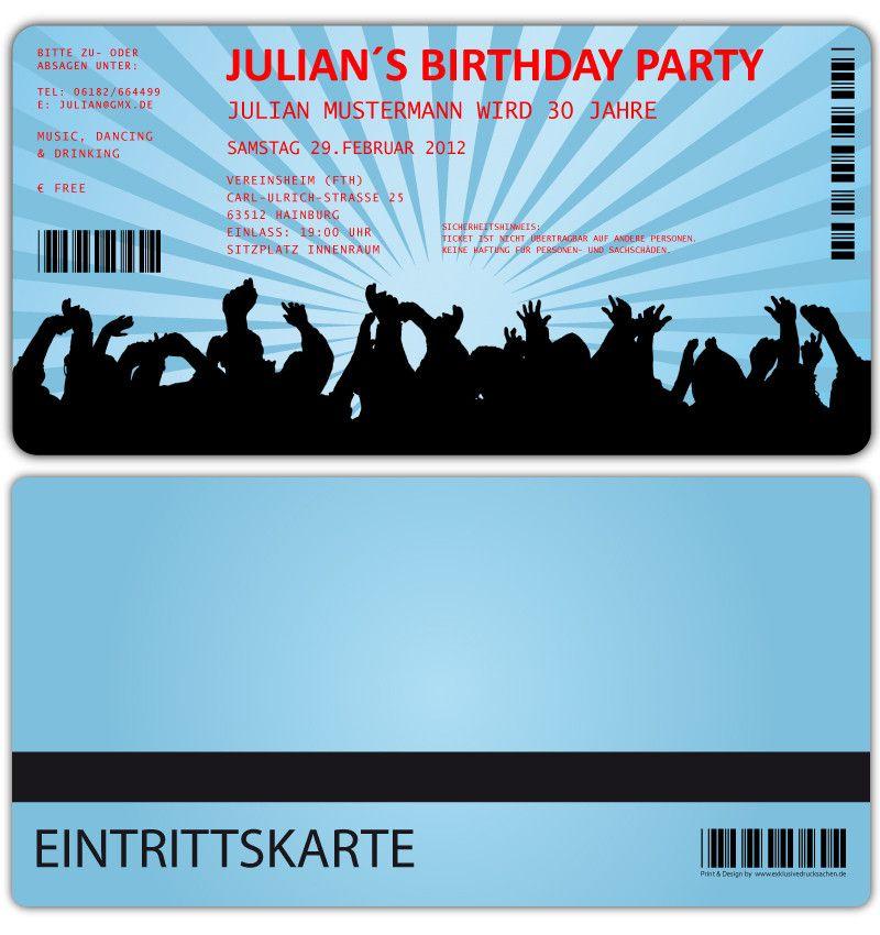 Einladungskarten Für Geburtstag U2022 Eintrittskarte U2022 Ticket U2022 Karte U2022  Einladung Konzertkarte
