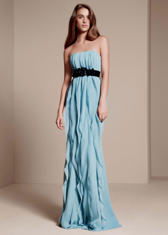 Strapless Crinkle Chiffon Dress with Mikado Sash - David\'s Bridal ...