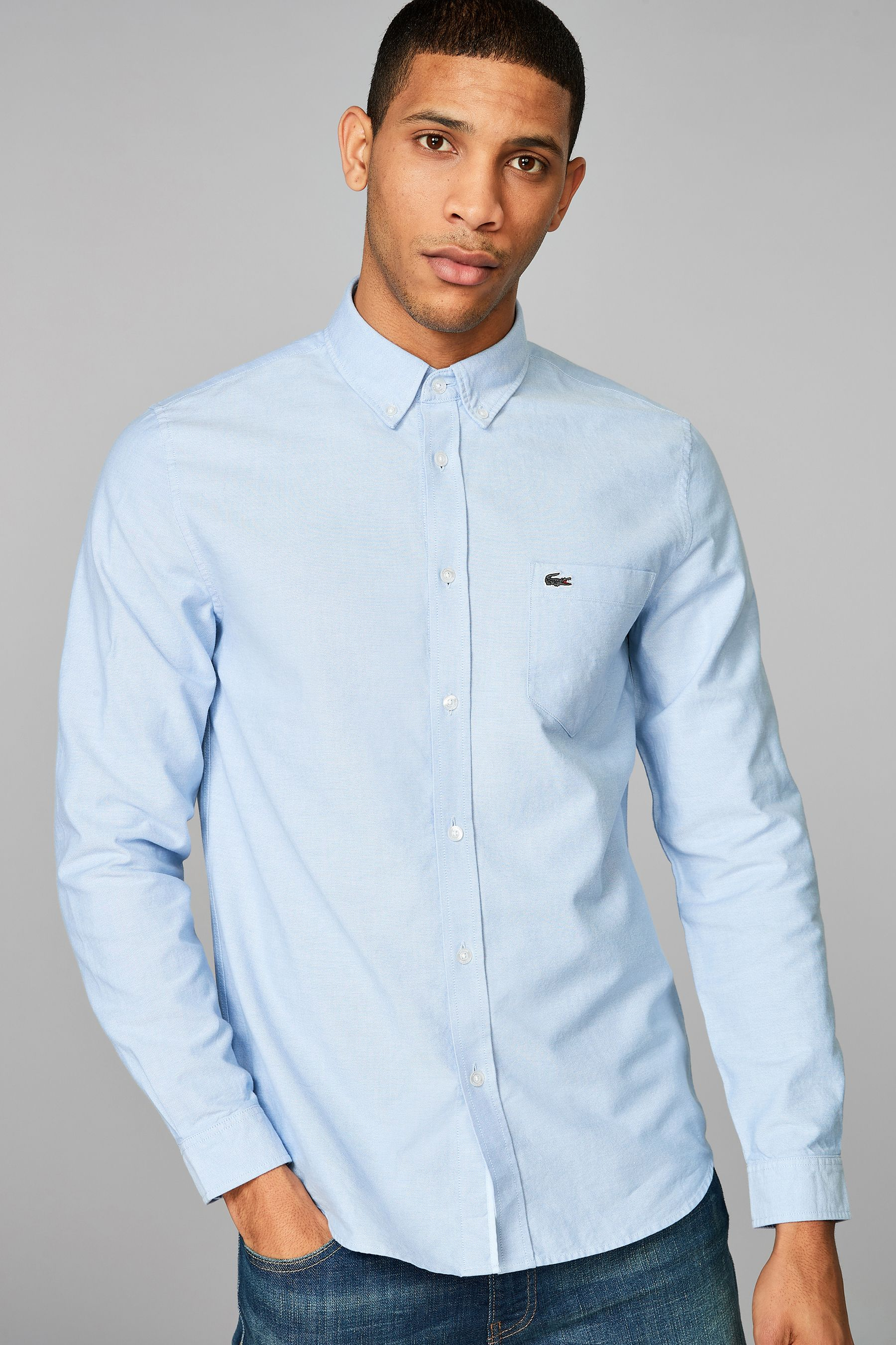 Mens Lacoste Long Sleeve Oxford Shirt