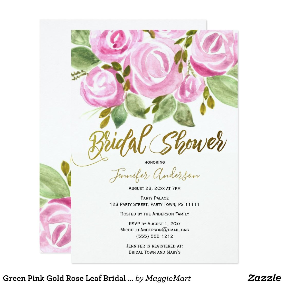 Green Pink Gold Rose Leaf Bridal Shower Card Bridal Shower Cards