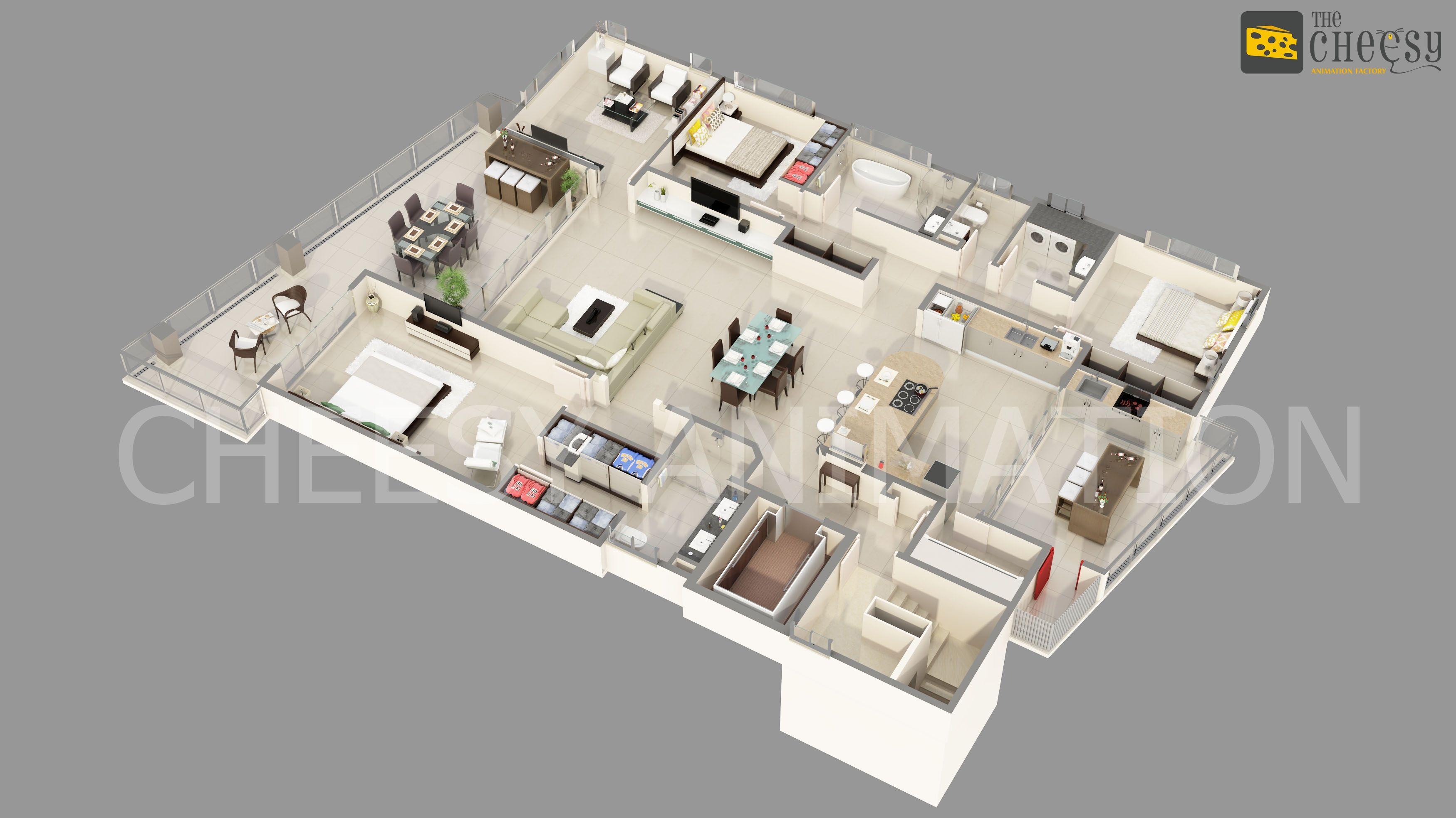 The Cheesy Animation Factory Specialists In 3d Walkthroughs 3d Rendering Architectural 3d Animations 3d Ex Floor Plan Design Floor Plans Rendered Floor Plan