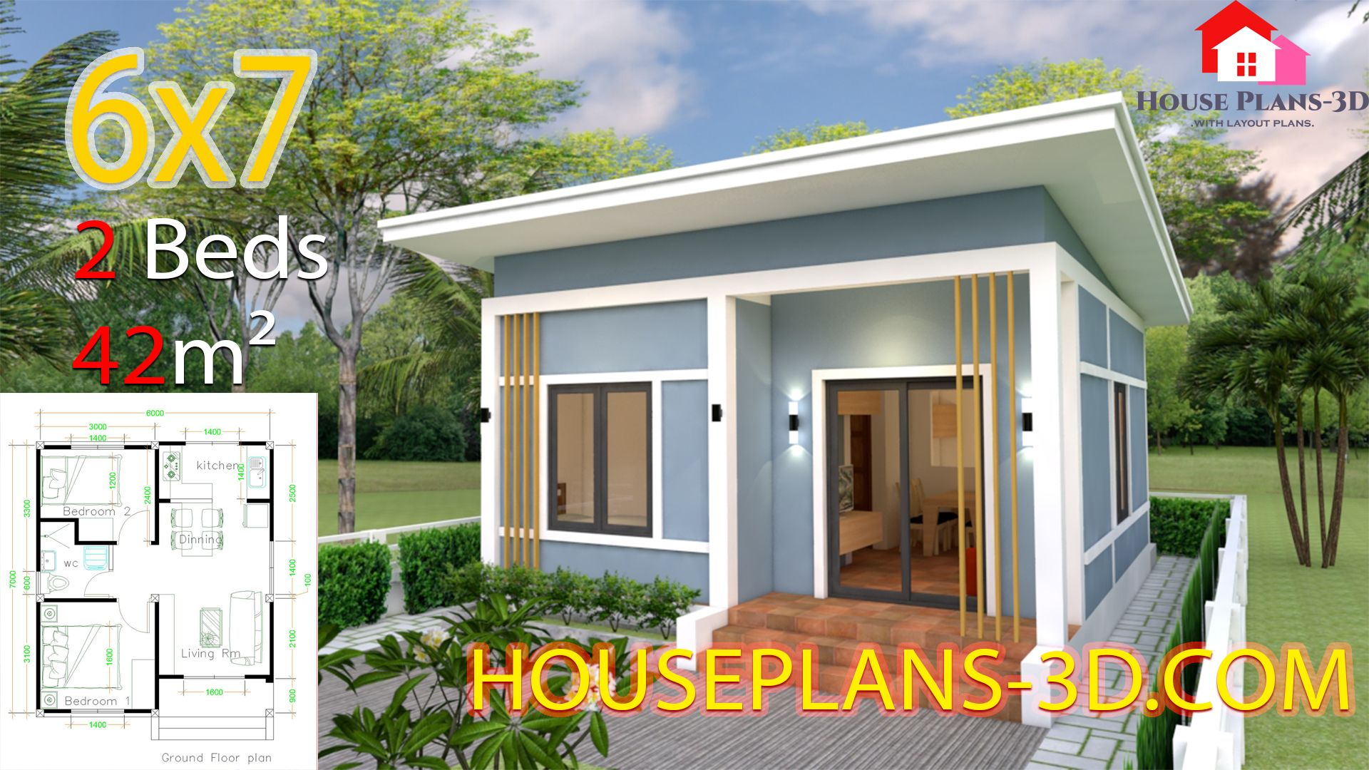 Simple House Plans 6x7 With 2 Bedrooms Shed Roof House Plans 3d House Plans Simple House Plans Flat Roof House