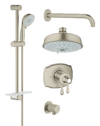 View The Grohe 35 054 Grohflex Thermostatic Shower System Includes Valve Trim Head Hand Arm Slide Bar Hose And Wall Supply At