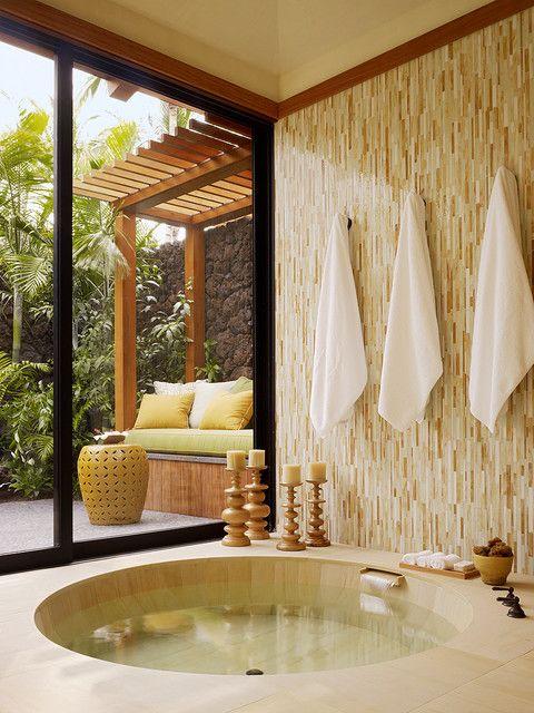 Calm & peaceful colors and I love a step down tub! Calgon take me ...