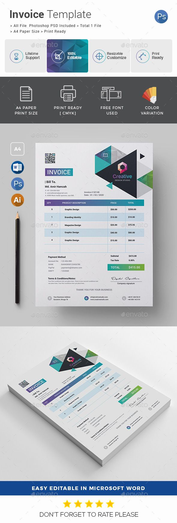 Invoice Template Psd Proposal Invoice Templates Pinterest