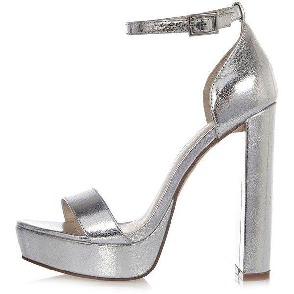platform heels, Silver high heel shoes