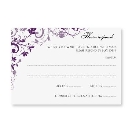 Wedding Templates Chic Bouquet Plum Rsvp Card Blank Wedding Invitation Templates Blank Wedding Invitations Wedding Invitations Diy
