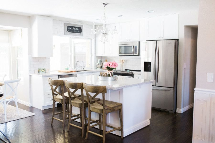 White Kitchen Remodel On A Budget For